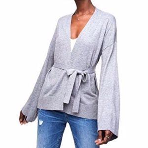 Like New LOFT Kimono Gray Cardigan Sweater Size M